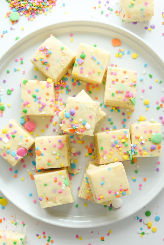 This smooth, creamy, no-bake fudge is full of cake batter flavor and made with just 4 ingredients. Fudge has never been so simple!
