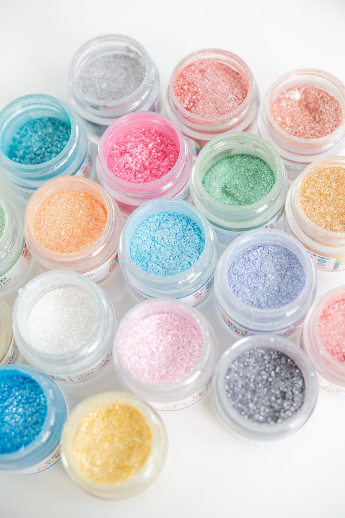 top view of variety colors of edible glitter