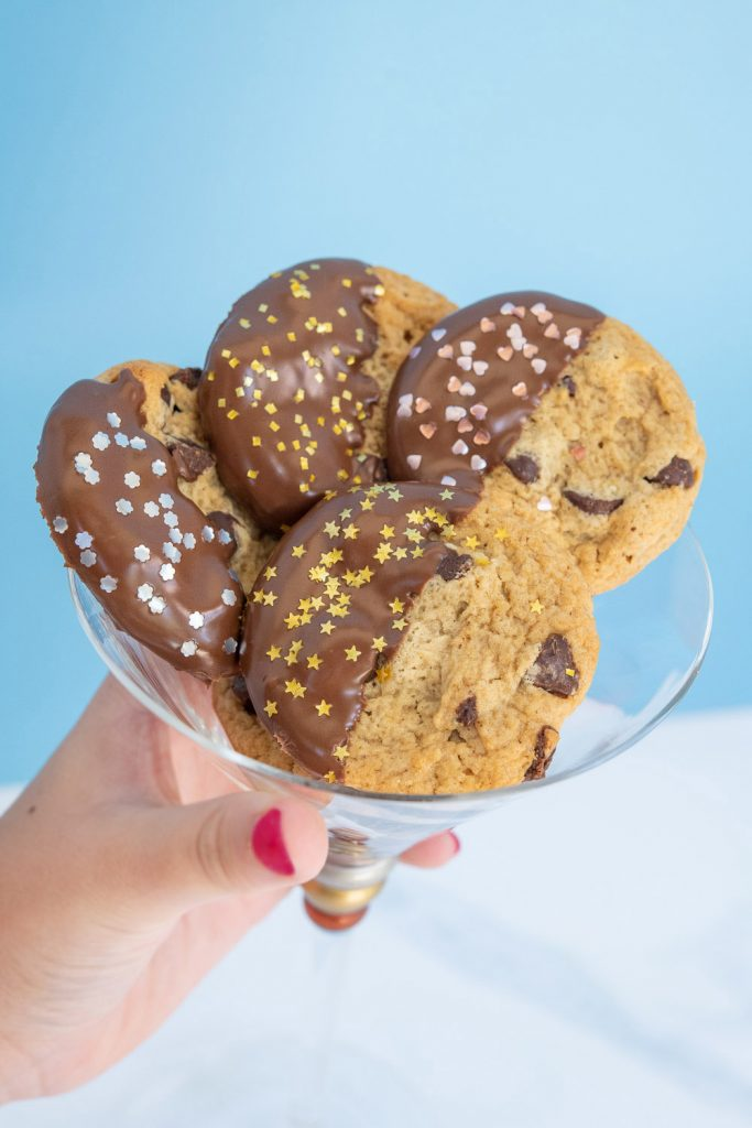 martini glass full of edible glitter shape topped cookies