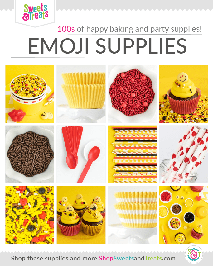 Emoji Party Supplies Grid with Emoji Sprinkles