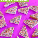 Cut traditional fairy bread on pink background