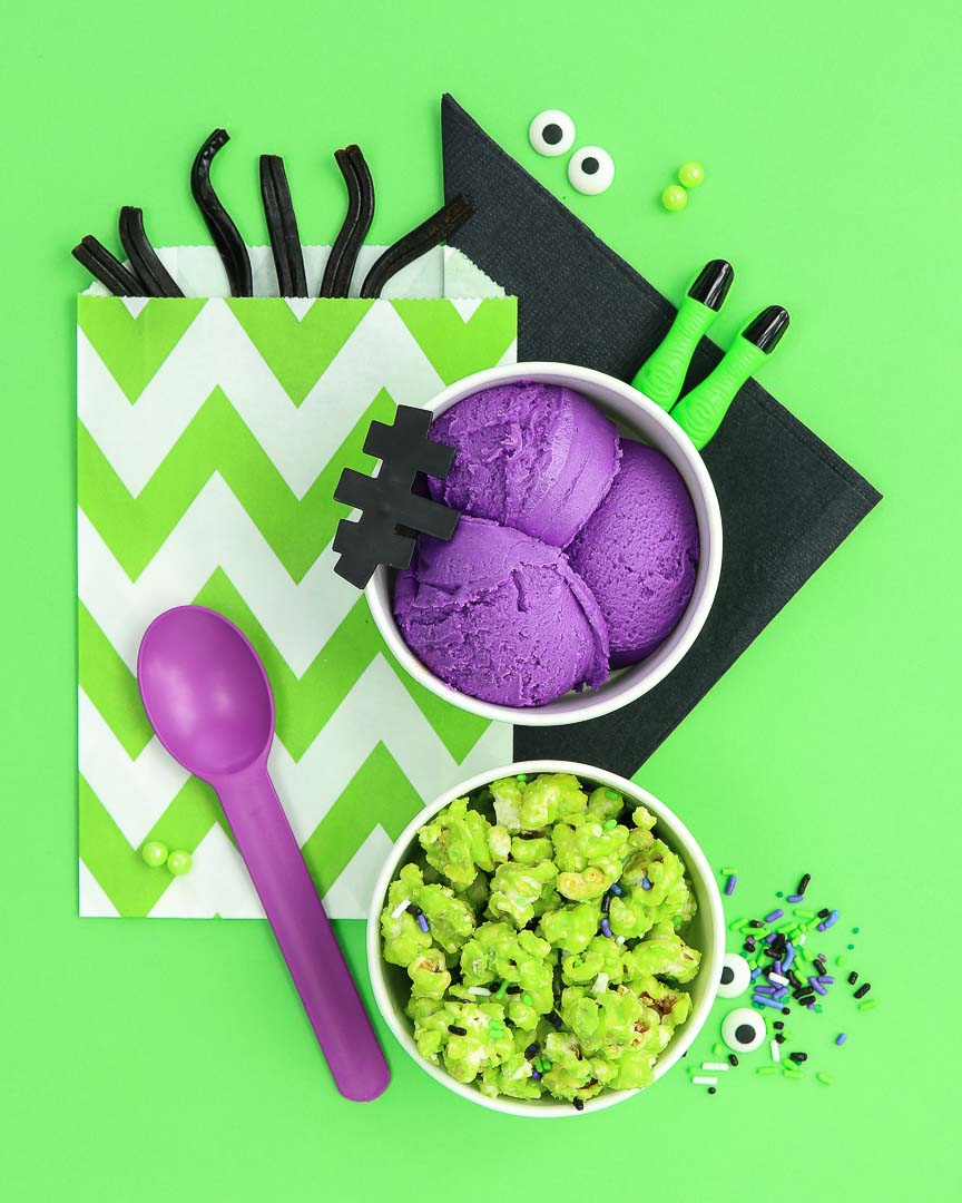 KIds Halloween Party Ideas - Frankenstein Halloween Party Food on lime green background