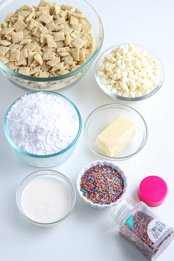 Here we see all the ingredients for puppy chow recipe variations laid out before we begin.