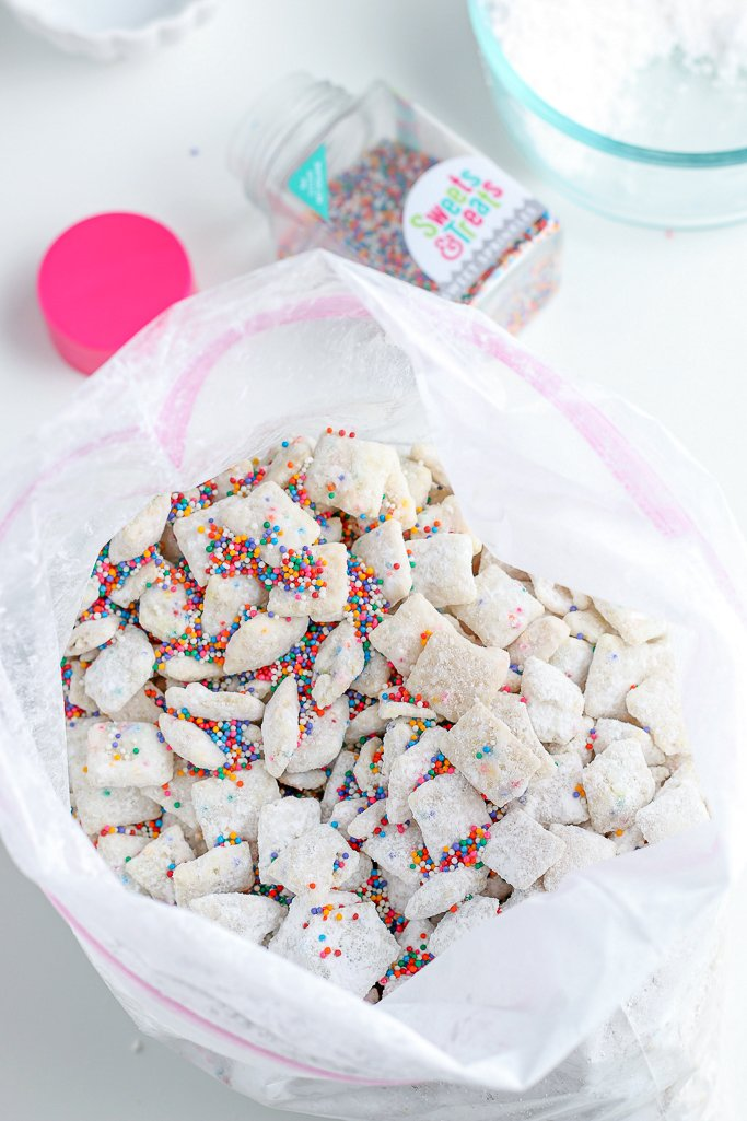 More sprinkles are also added to the bag to help give this particular puppy chow recipe variation some extra fun!