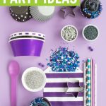 Galaxy party supplies collage on light purple background