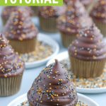 hi hat cupcakes tutorial graphic with new year nonnpareil sprinkles on top