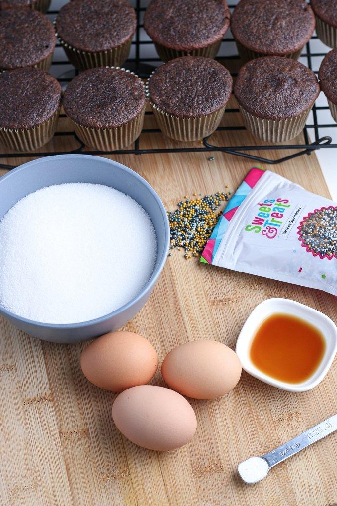 top view of hi hat cupcakes recipe ingredients