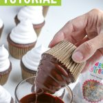 graphic showing chocolate cupcakes dipped in chocolate for high hat cupcakes tutorial