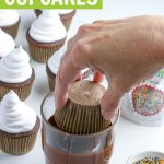 graphic showing chocolate cupcakes being dipped in chocolate for the coating