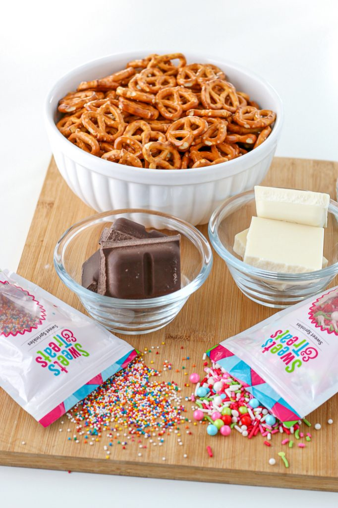 All the ingredients needed to learn how to make homemade chocolate covered pretzels.
