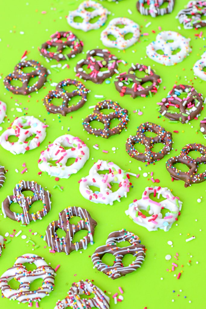 Once we learn how to make chocolate covered pretzels it's hard to stop. Finished pretzels lined up and ready to be enjoyed.