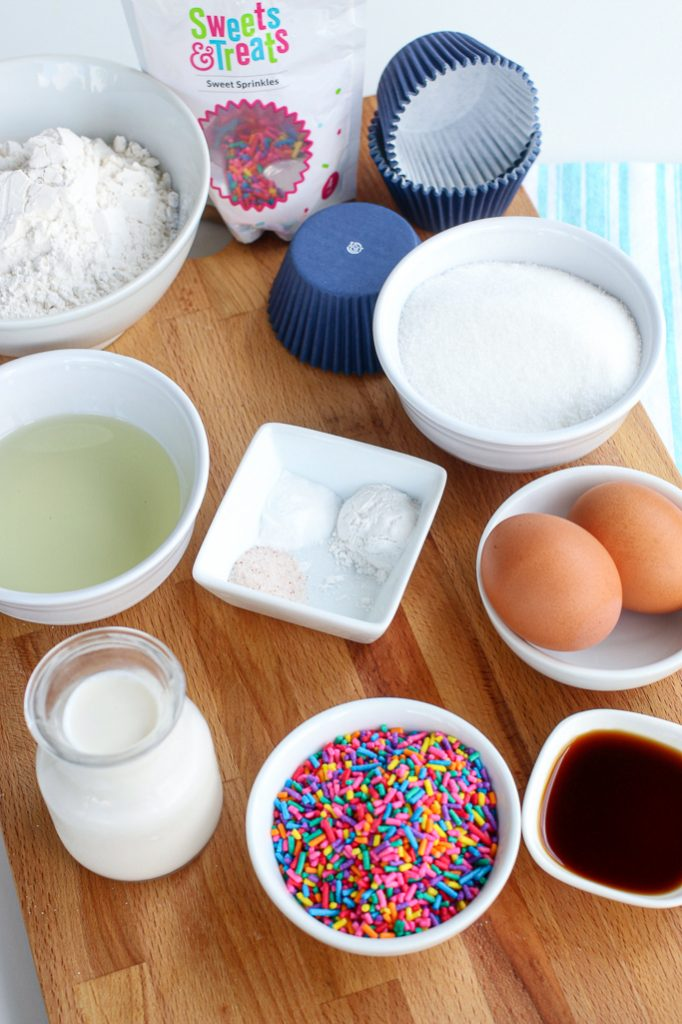 Ingredients for a homemade Funfetti Cupcake Recipe.