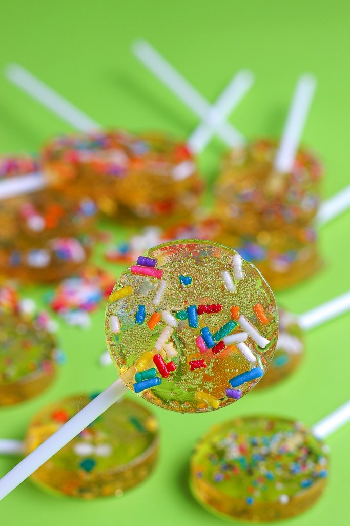Closeup of homemade lollipops recipe with jimmies sprinkles inside