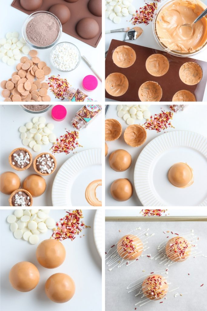 steps for making hot chocolate bombs recipe