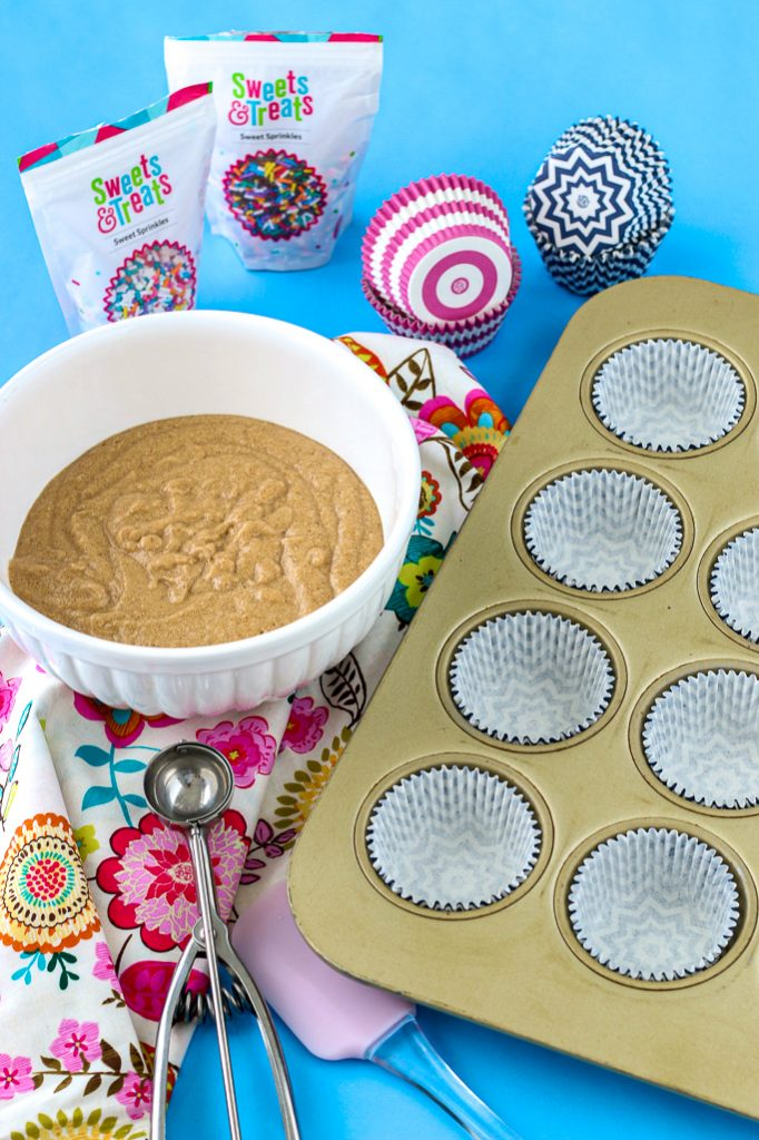 Here we see all the things we will need to learn how to fill cupcake liners!