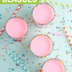 sprinkle rimmed glasses filled with strawberry milk graphic