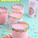 sprinkle rim cups with jimmies and strawberry milk graphic