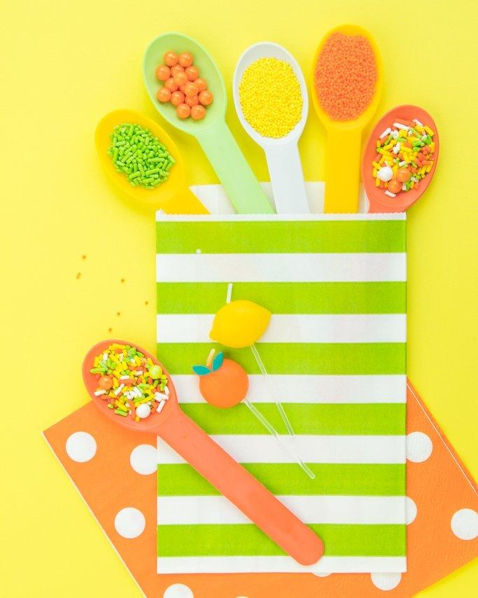 Lemon Lime spoons, sprinkles, and goodie bags.