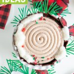 christmas log cake tree stump cake overhead photo with buffalo plaid ribbon