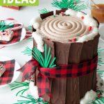 christmas log cake on lumberjack sprinkles and cake plate for christmas party table