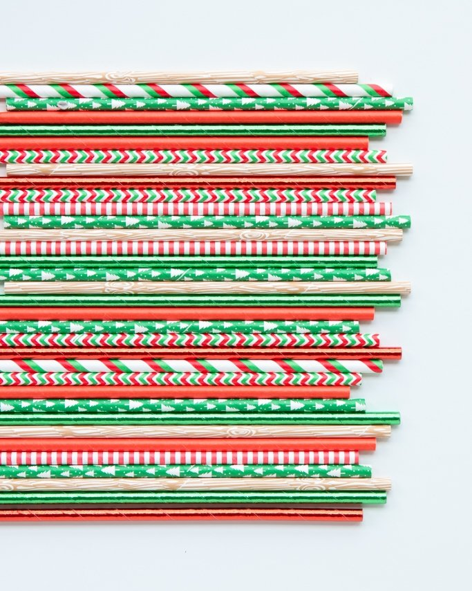 lumberjack party paper straws assorted on white background