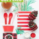 lumberjack party supplies collage with pine cone cupcakes and buffalo plaid party supplies