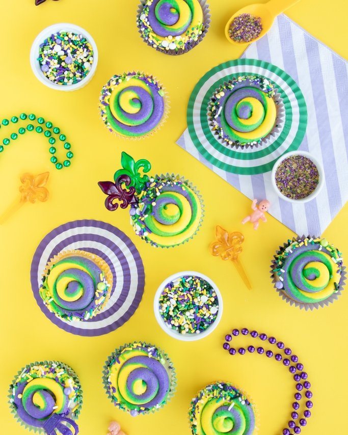 Mardi Gras Party Supplies - Mardi Gras Party Ideas - Cupcakes, Sprinkles on yellow background