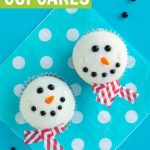 melted snowman cupcakes tutorial on blue background