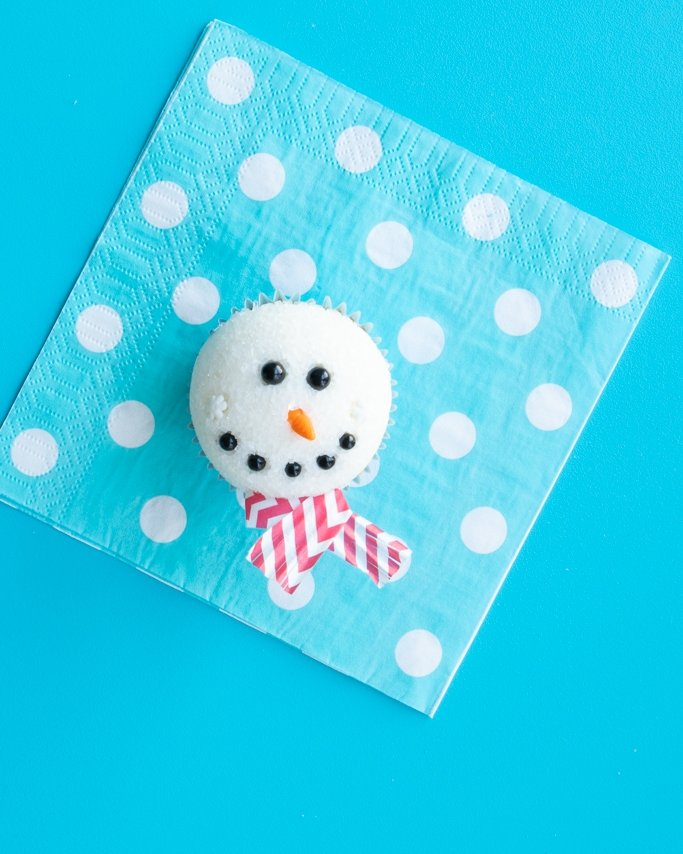 final melted snowman cupcakes with red chevron scarf liners