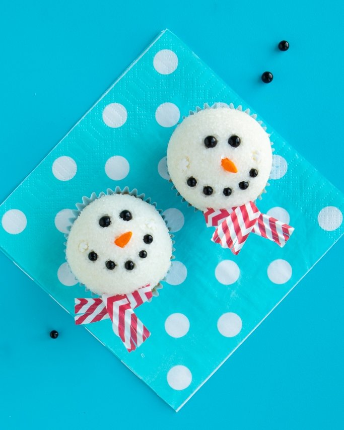 melted snowman cupcake buddies for Christmas
