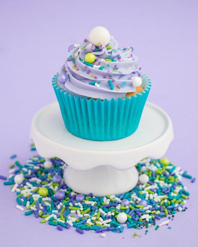 Easy mermaid cupcakes with mermaid sprinkles.