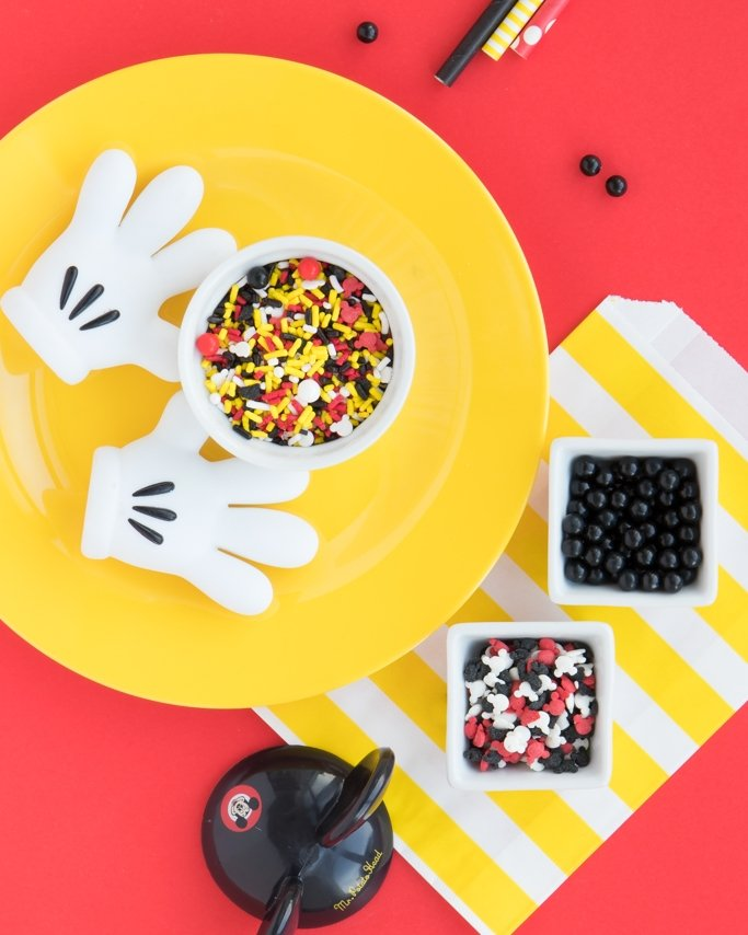 Mickey Mouse Sprinkles, Sprinkle Mix on yellow plate and red background