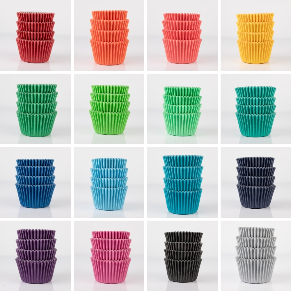 rainbow grid of mini cupcake liners in midi size