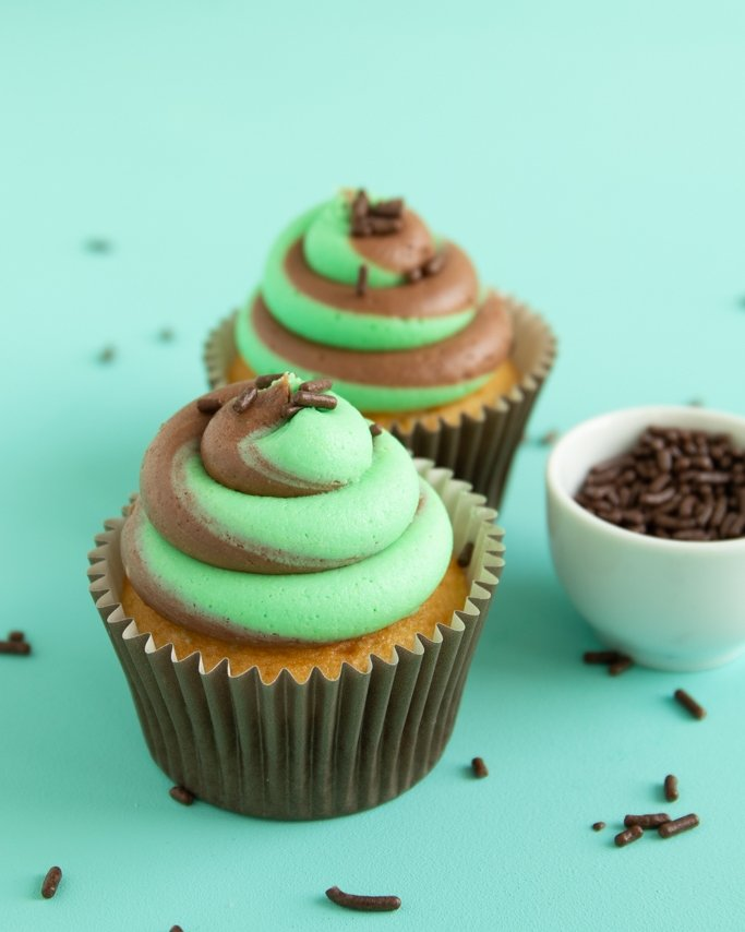 two tone swirl frosting tutorial - chocolate mint frosting