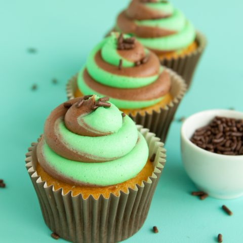 Chocolate mint frosting two tone swirl frosting on vanilla cupcakes with chocolate jimmies