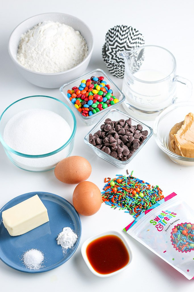 Here are all the ingredients for our cupcake recipe laid out before we begin baking.