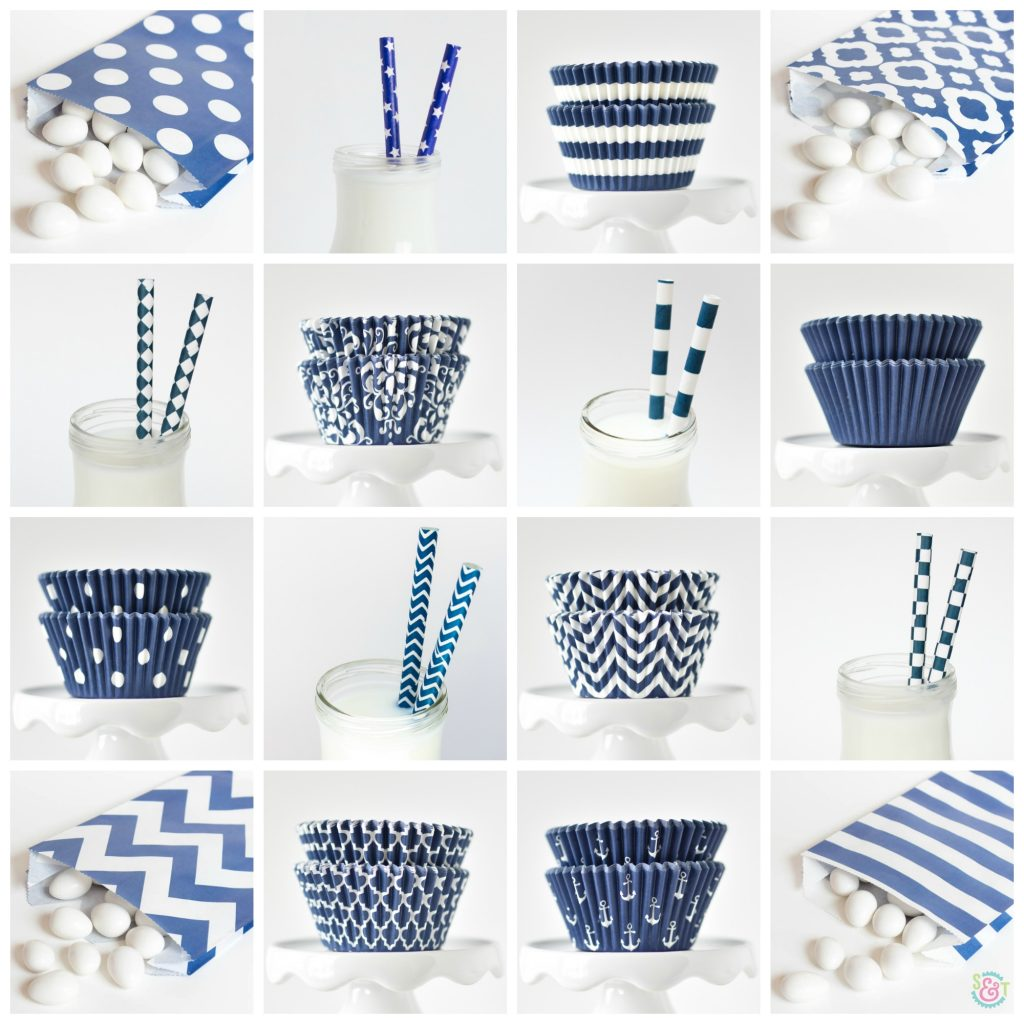 Navy Blue Party Supplies Collage - Navy blue paper straws, navy blue cupcake liners, navy blue goodie bags, and more!