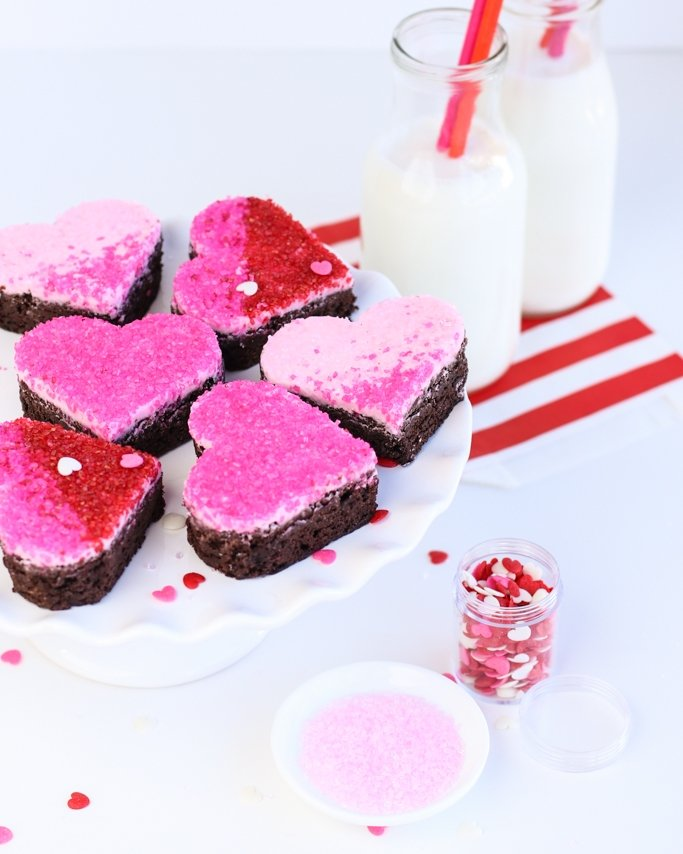 Valentine's Day Heart Brownies - A beautiful ombre dessert with light pink, pink, and red sugar crystals! Such an easy and fun dessert idea and Valentine's Day Party Idea!