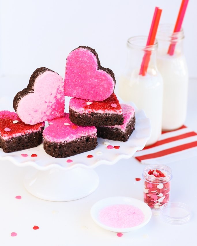 Heart Ombre Sprinkled Brownies on white cake plate closeup shot - Heart Valentine Brownies