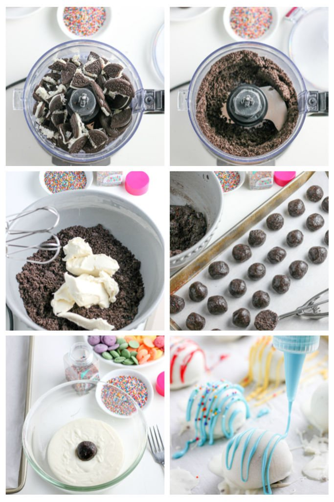 Here we see the first step in the process for how to make oreo balls, crushing the cookies and dipping in chocolate