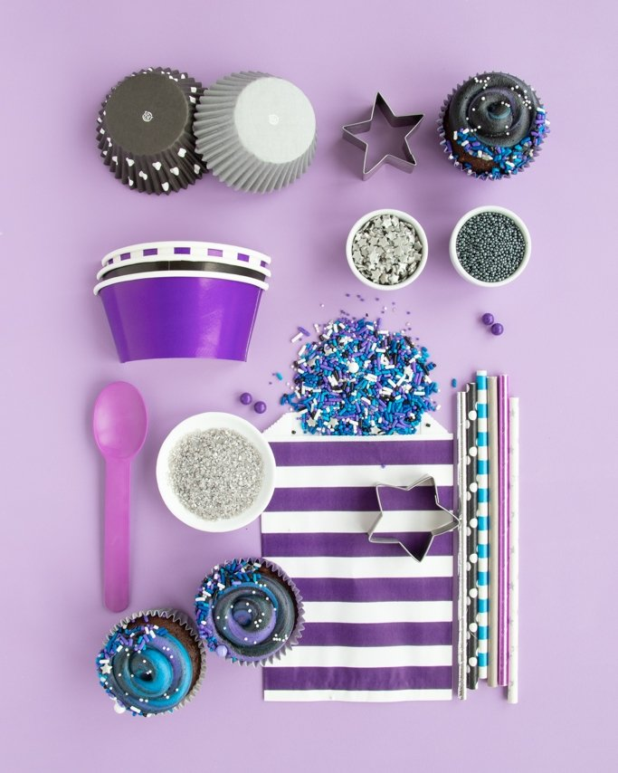 Galaxy Party Ideas & Supplies collage on light purple background