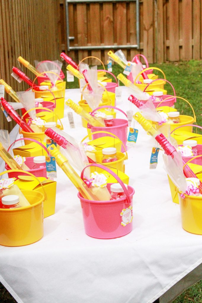 Pink Lemonade Party Favors Table
