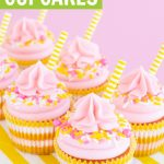 Pink lemonade cupcakes collage