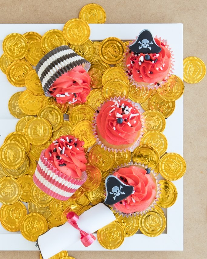 Pirate Party Ideas using gold coins on white plate