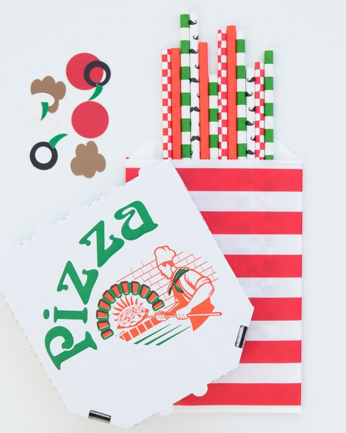 Pizza party paper straws with mustache and red checkered pattern