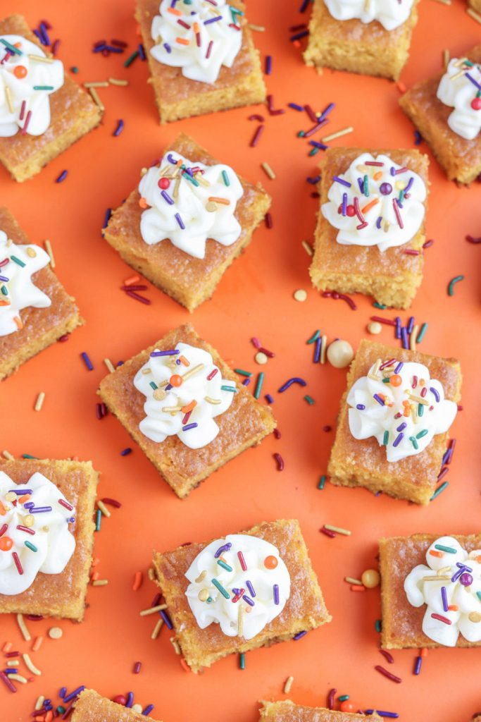 top view of pumpkin bars recipe with cream cheese frosting