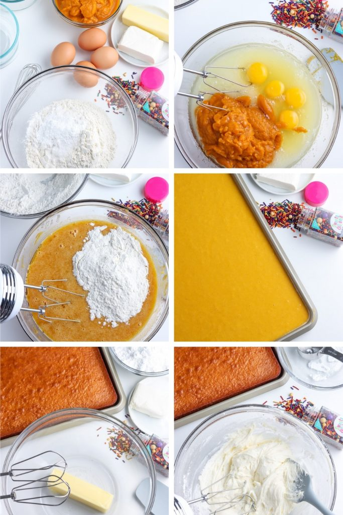 collage of steps for pumpkin bars recipe with cream cheese frosting
