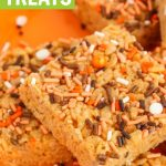 pumpkin rice krispie treats recipe with thanksgiving sprinkles