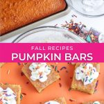 pumpkin bars with cream cheese frosting recipe graphic