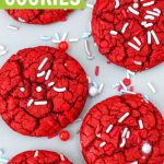 Red velvet cake mix cookies with christmas sprinkles